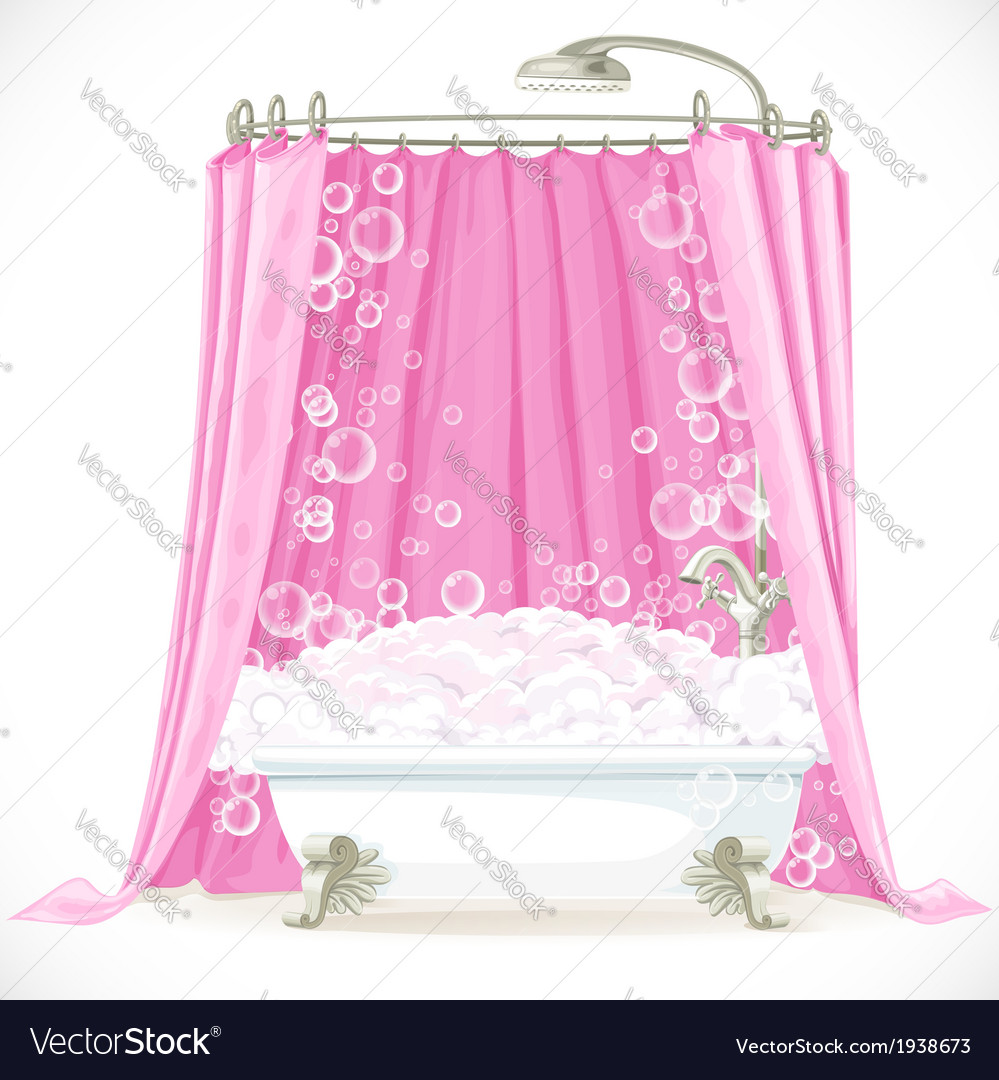 Vintage claw-foot bathtub and a pink curtain on vector | Price: 1 Credit (USD $1)