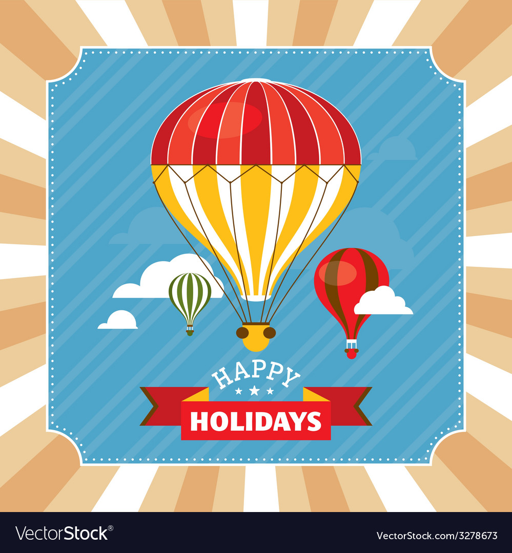 Vintage greeting card with hot air balloons vector | Price: 1 Credit (USD $1)