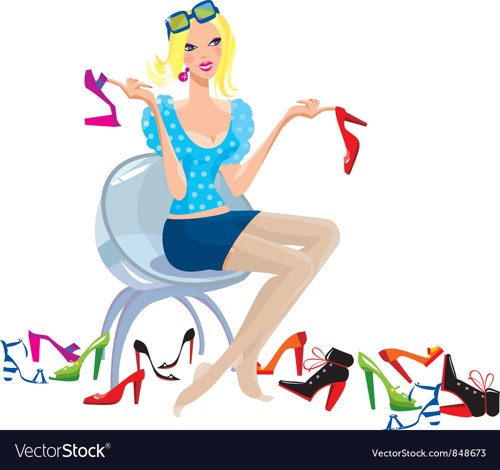 Young woman tries on shoes vector   Price: 3 Credit (USD $3)
