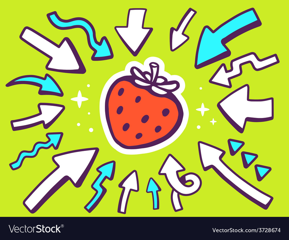 Arrows point to icon of red strawberry o vector | Price: 1 Credit (USD $1)