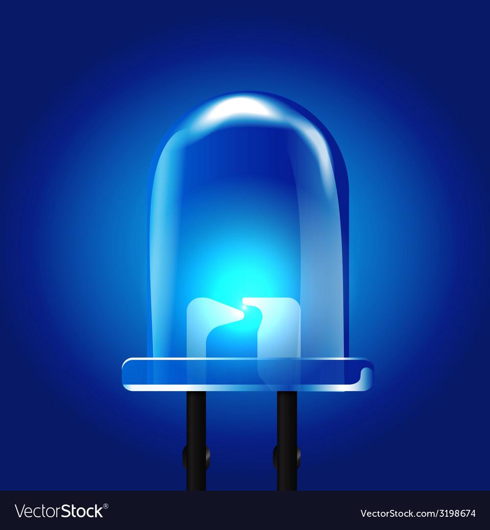 Blue luminous bright light emitting diode vector   Price: 1 Credit (USD $1)