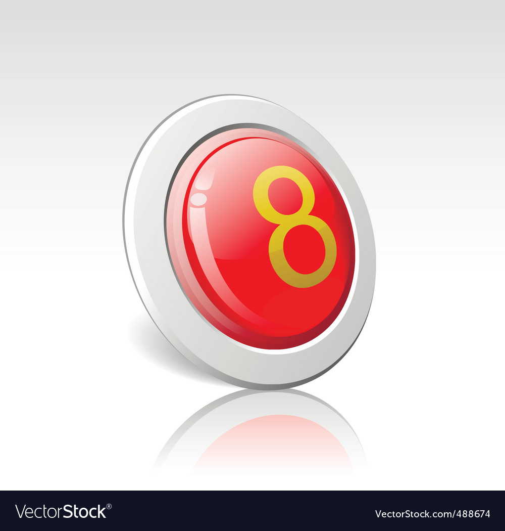 Button with the number 8 vector | Price: 1 Credit (USD $1)