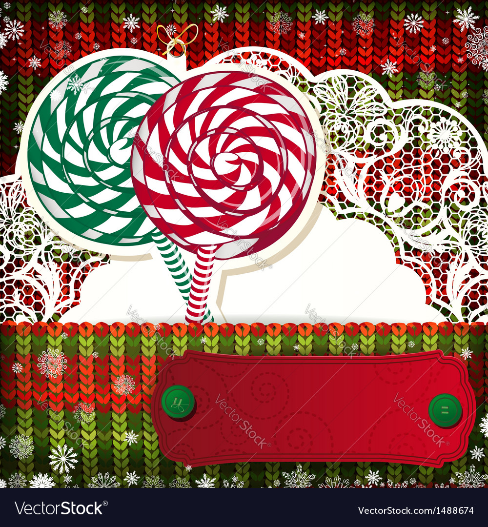 Christmas decorations on handmade knitted vector   Price: 3 Credit (USD $3)