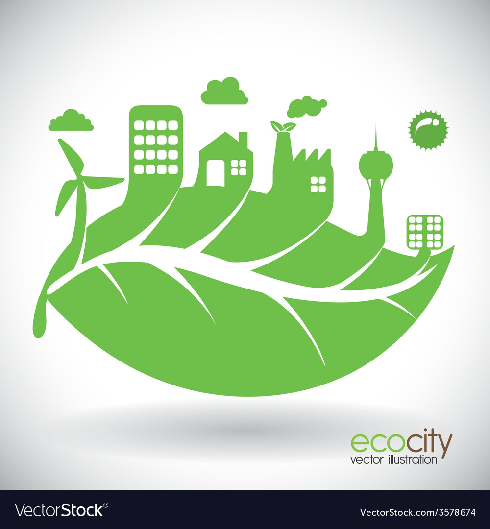 Eco city design eps10 graphic vector | Price: 1 Credit (USD $1)