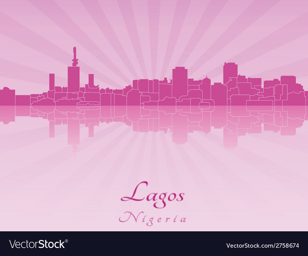 Lagos skyline in radiant orchid vector | Price: 1 Credit (USD $1)