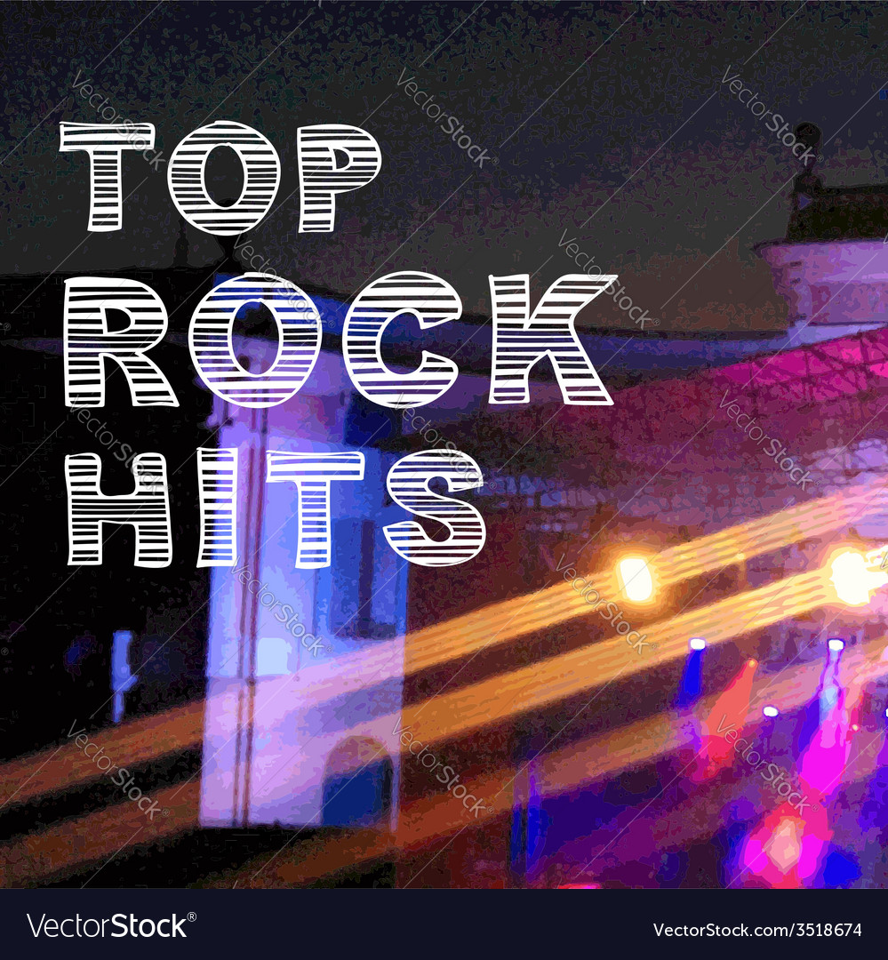 Rock music poster banner top hits vector | Price: 1 Credit (USD $1)