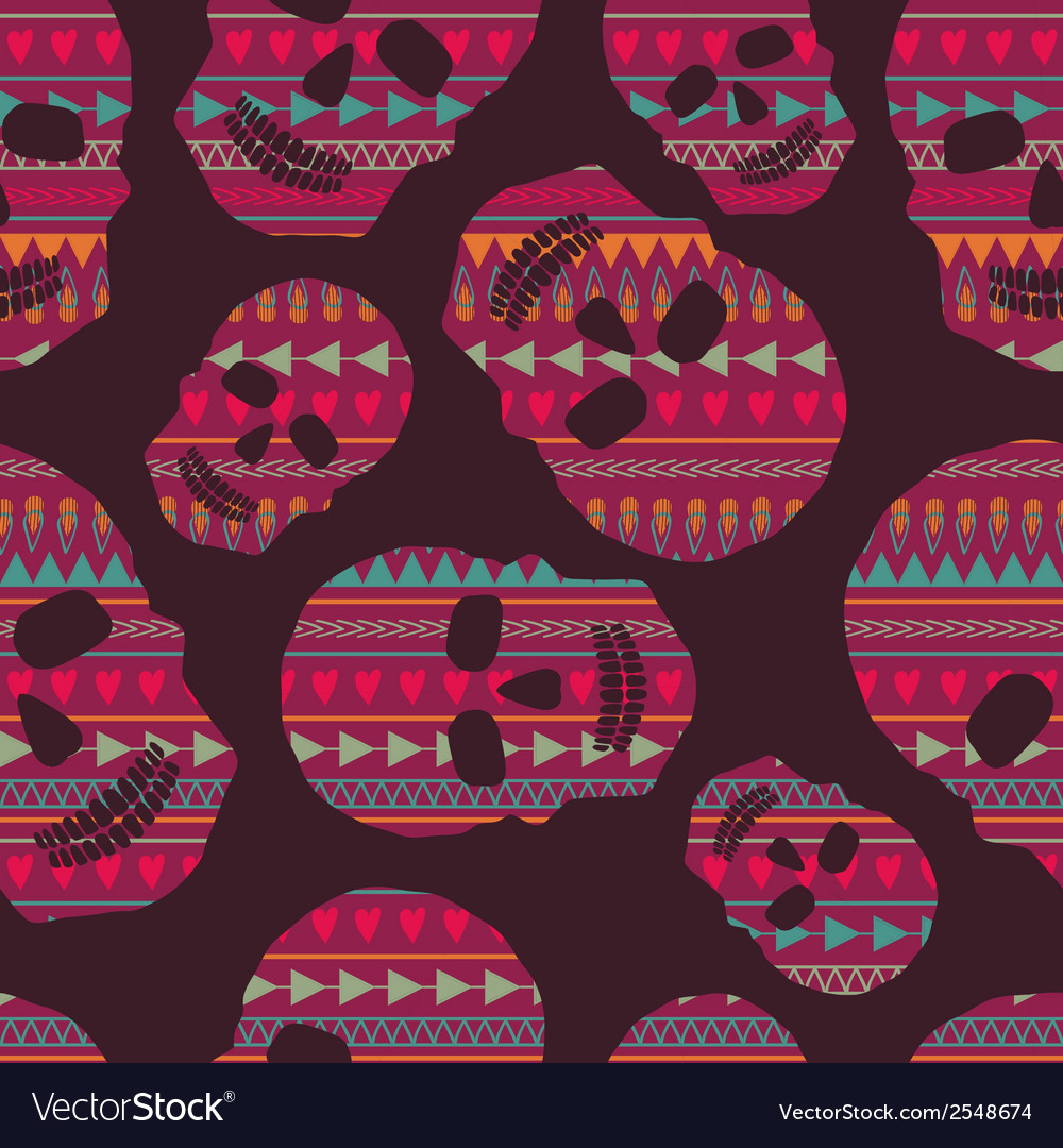 Seamless pattern with skulls vector | Price: 1 Credit (USD $1)