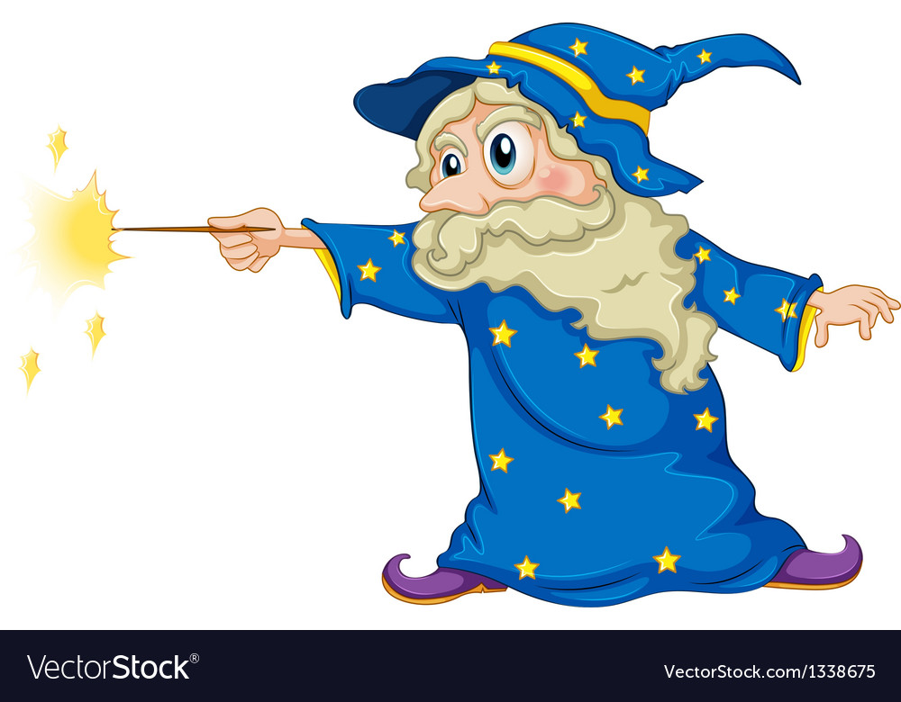 A wizard holding a magic wand vector | Price: 1 Credit (USD $1)
