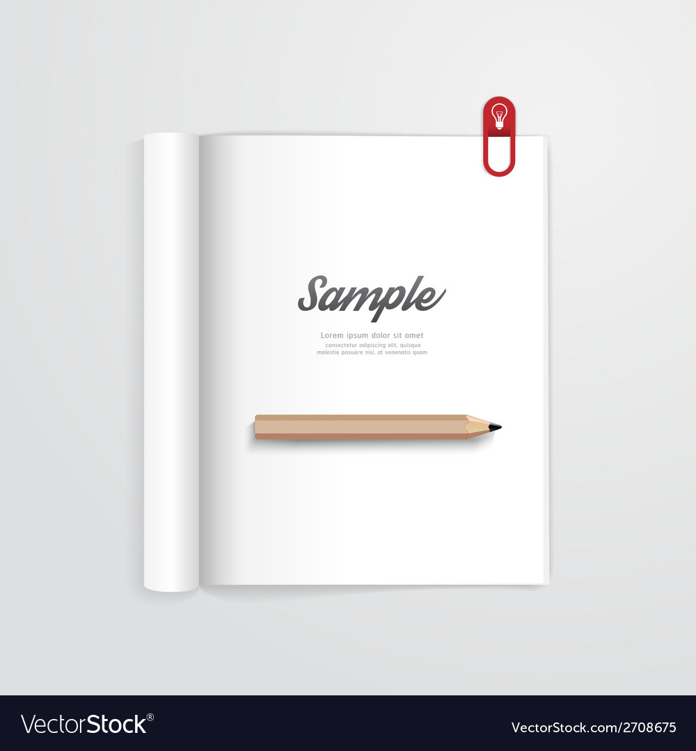 Book open with pencil magazine template vector | Price: 1 Credit (USD $1)