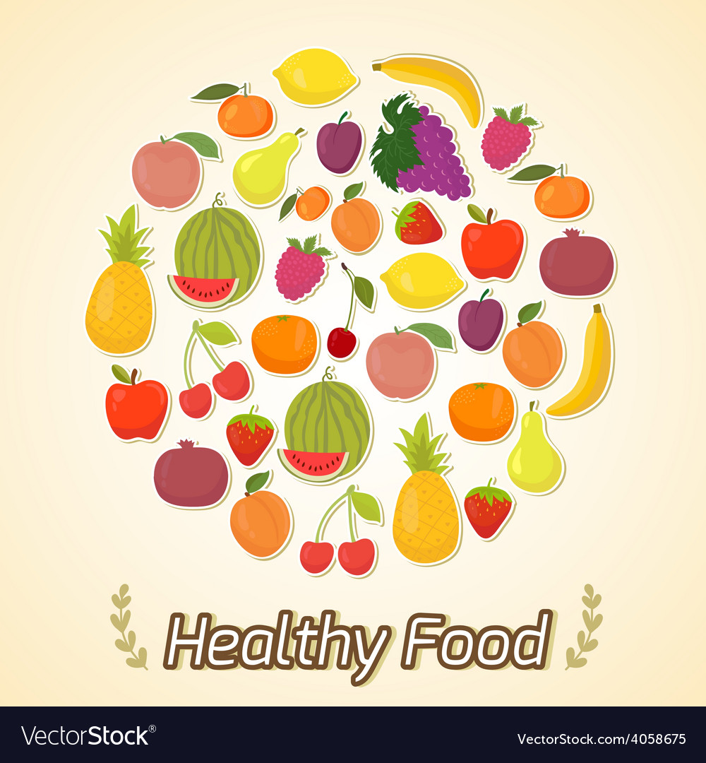 Circle from fruits healthy food vector | Price: 1 Credit (USD $1)