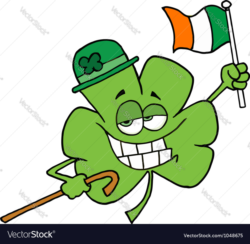 Clover character wearing a green hat vector | Price: 1 Credit (USD $1)