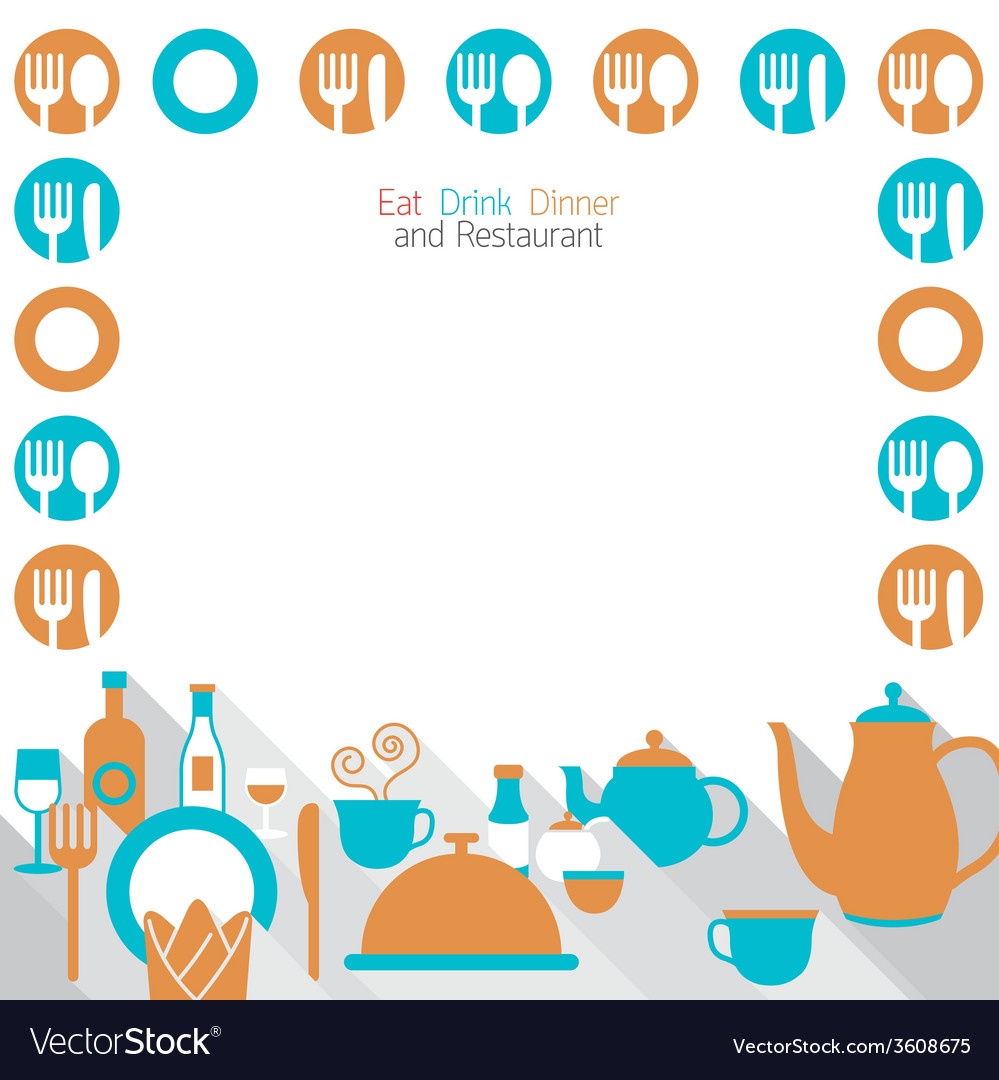 Dinner restaurant and eating frame vector | Price: 1 Credit (USD $1)