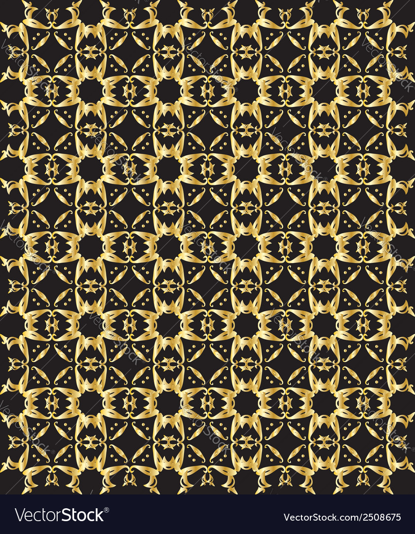 Gold pattern on black background 5 vector | Price: 1 Credit (USD $1)