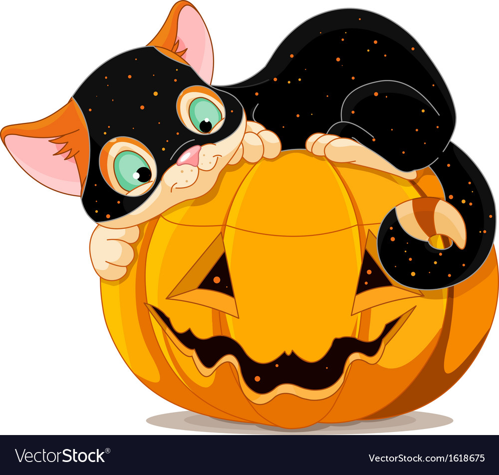 Halloween kitten vector | Price: 1 Credit (USD $1)