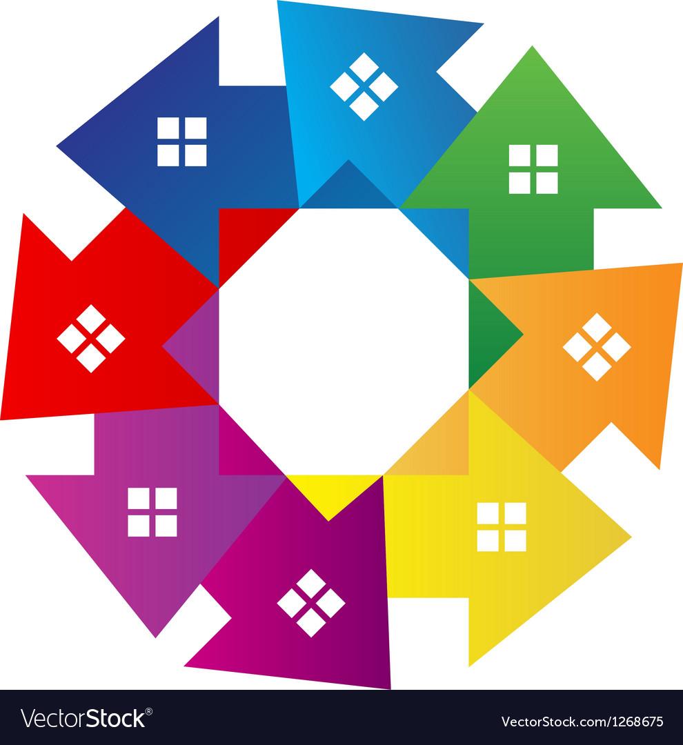 Houses around logo vector | Price: 1 Credit (USD $1)