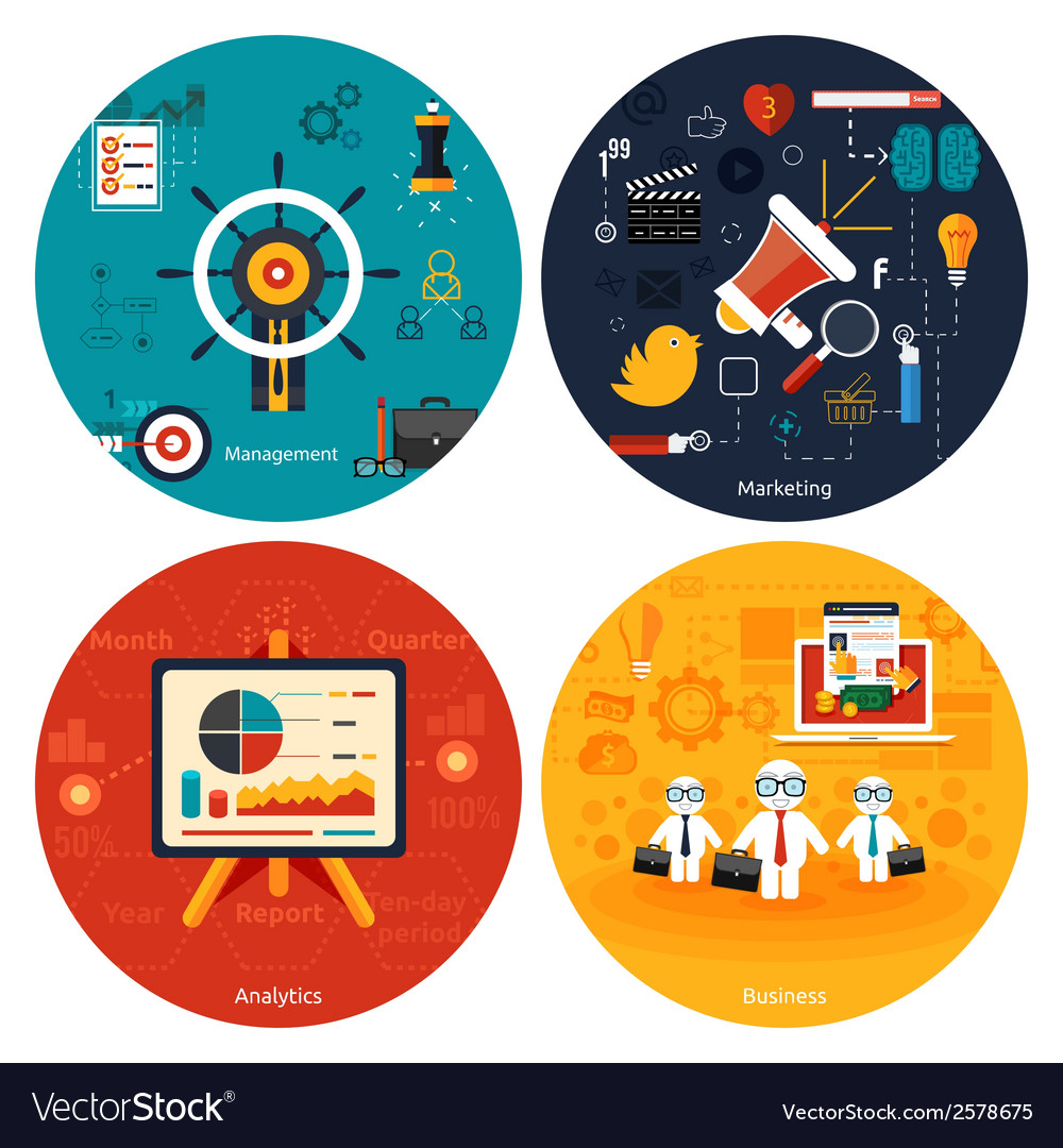 Icons for marketing management analytics vector | Price: 1 Credit (USD $1)