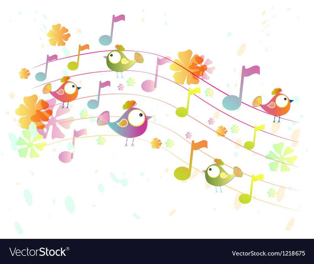 Music background with birds vector | Price: 1 Credit (USD $1)