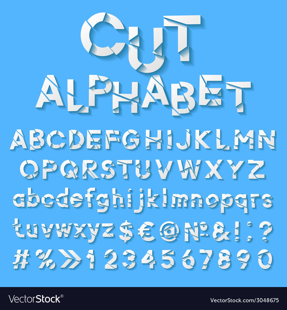 Paper alphabet with cut letters vector | Price: 1 Credit (USD $1)
