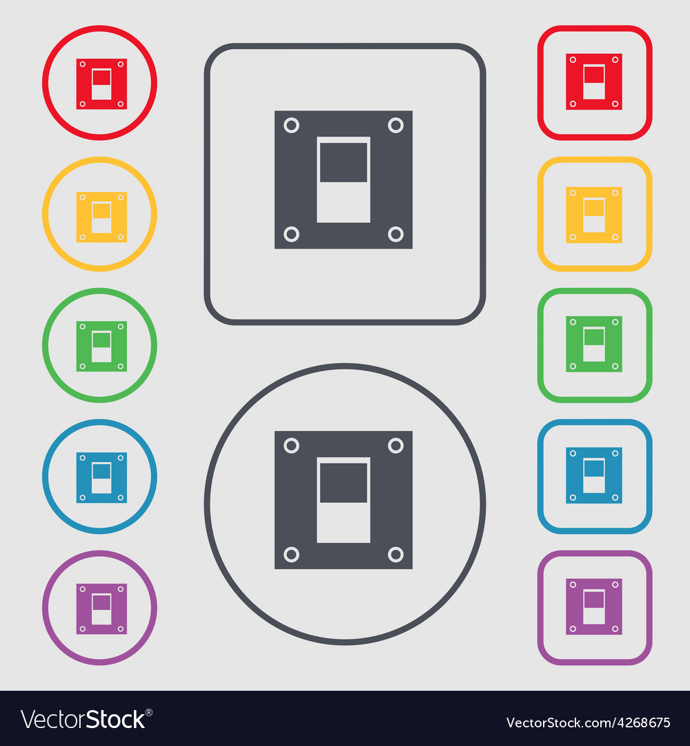 Power switch icon sign symbol on the round and vector | Price: 1 Credit (USD $1)