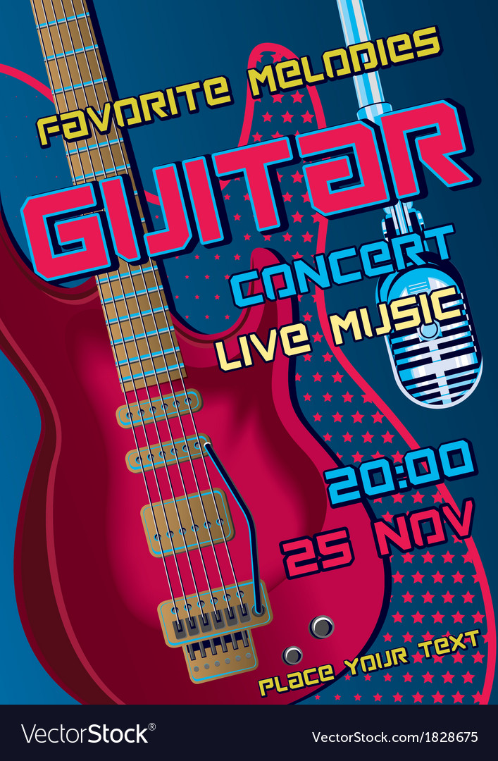 Rock concert design template with guitar micropho vector | Price: 1 Credit (USD $1)