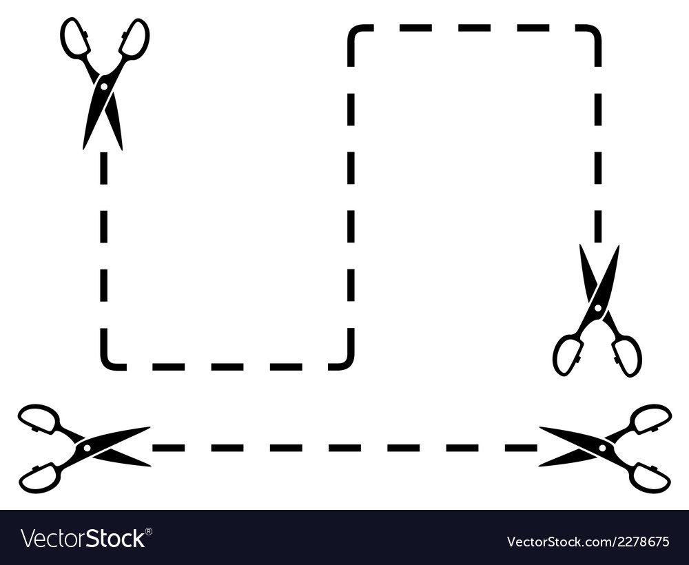 Set black dotted line with scissors cut on white vector | Price: 1 Credit (USD $1)