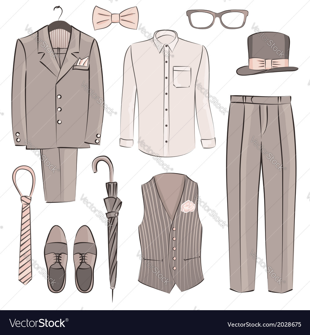 Sketch groom clothing vector | Price: 1 Credit (USD $1)