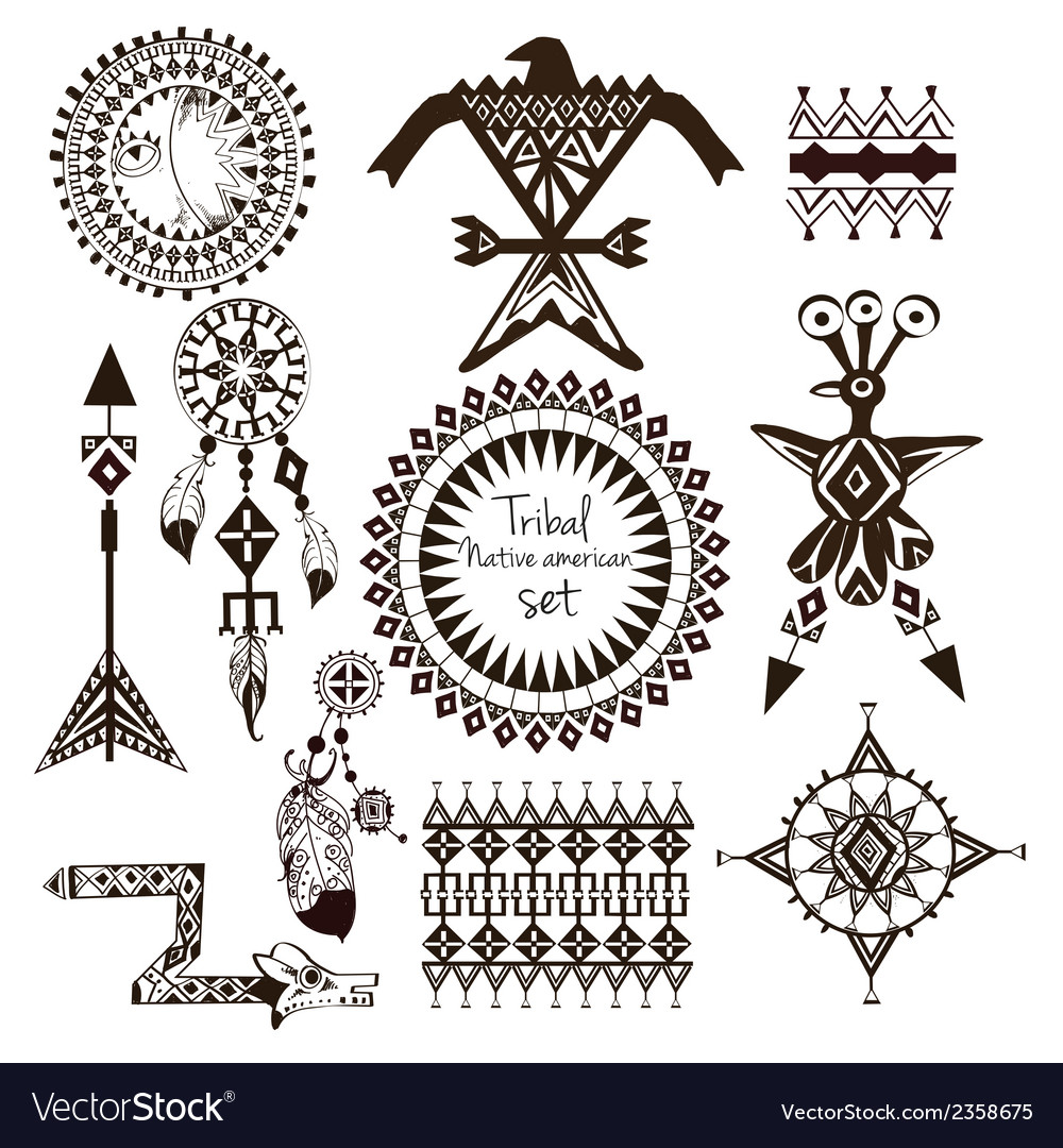 Tribal native american set vector | Price: 1 Credit (USD $1)