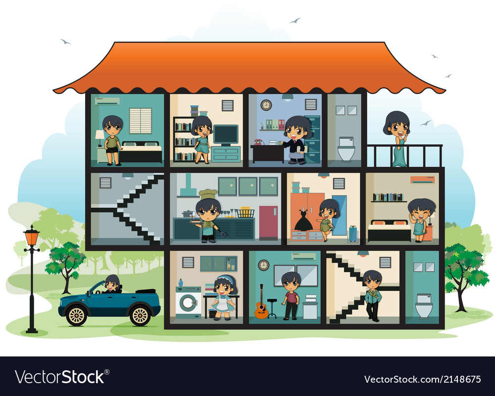 Various rooms in the house vector | Price: 1 Credit (USD $1)