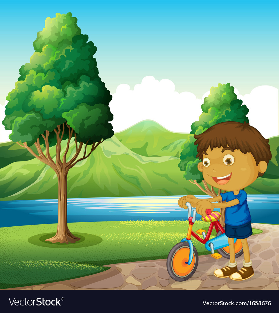 A kid at the riverbank playing with his bicycle vector | Price: 3 Credit (USD $3)