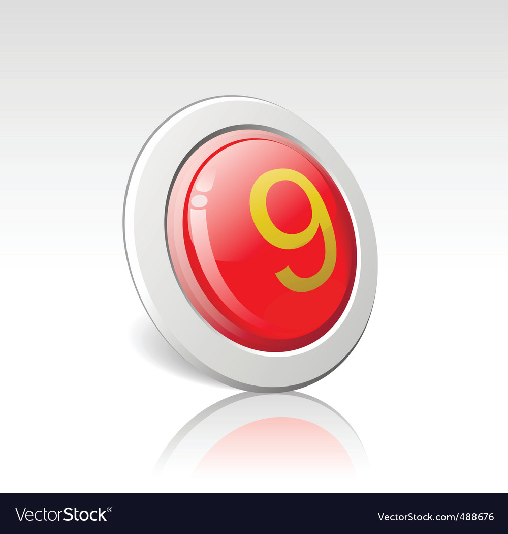 Button with the number 9 vector | Price: 1 Credit (USD $1)