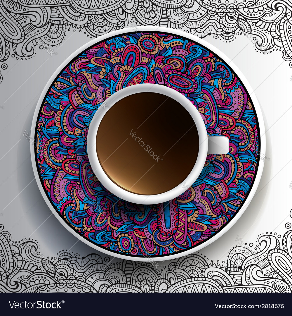 Cup of coffee and hand drawn ornament vector | Price: 1 Credit (USD $1)