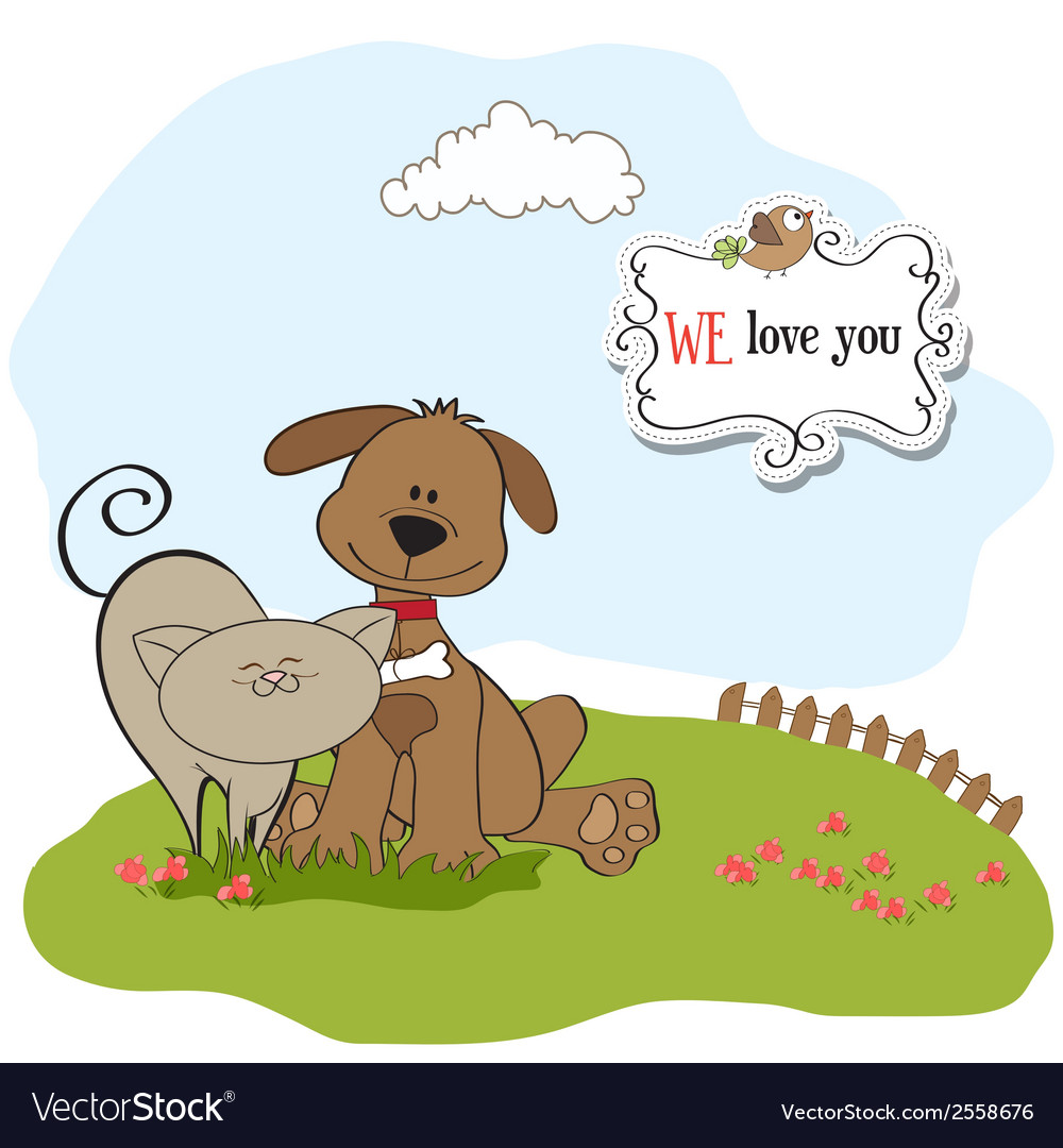 Dog cats friendship vector | Price: 1 Credit (USD $1)