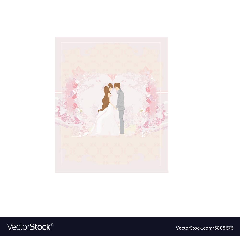 Elegant wedding invitation with wedding couple vector | Price: 1 Credit (USD $1)