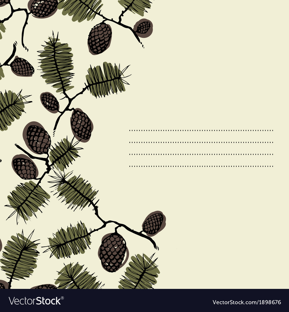 Frame for text with fir cone and twig vector | Price: 1 Credit (USD $1)
