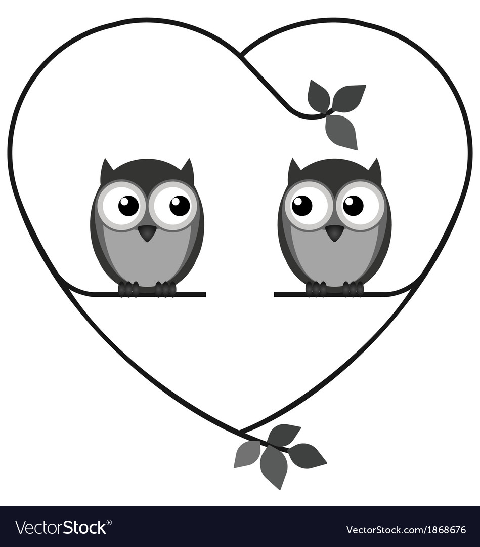 Owl heart vector | Price: 1 Credit (USD $1)