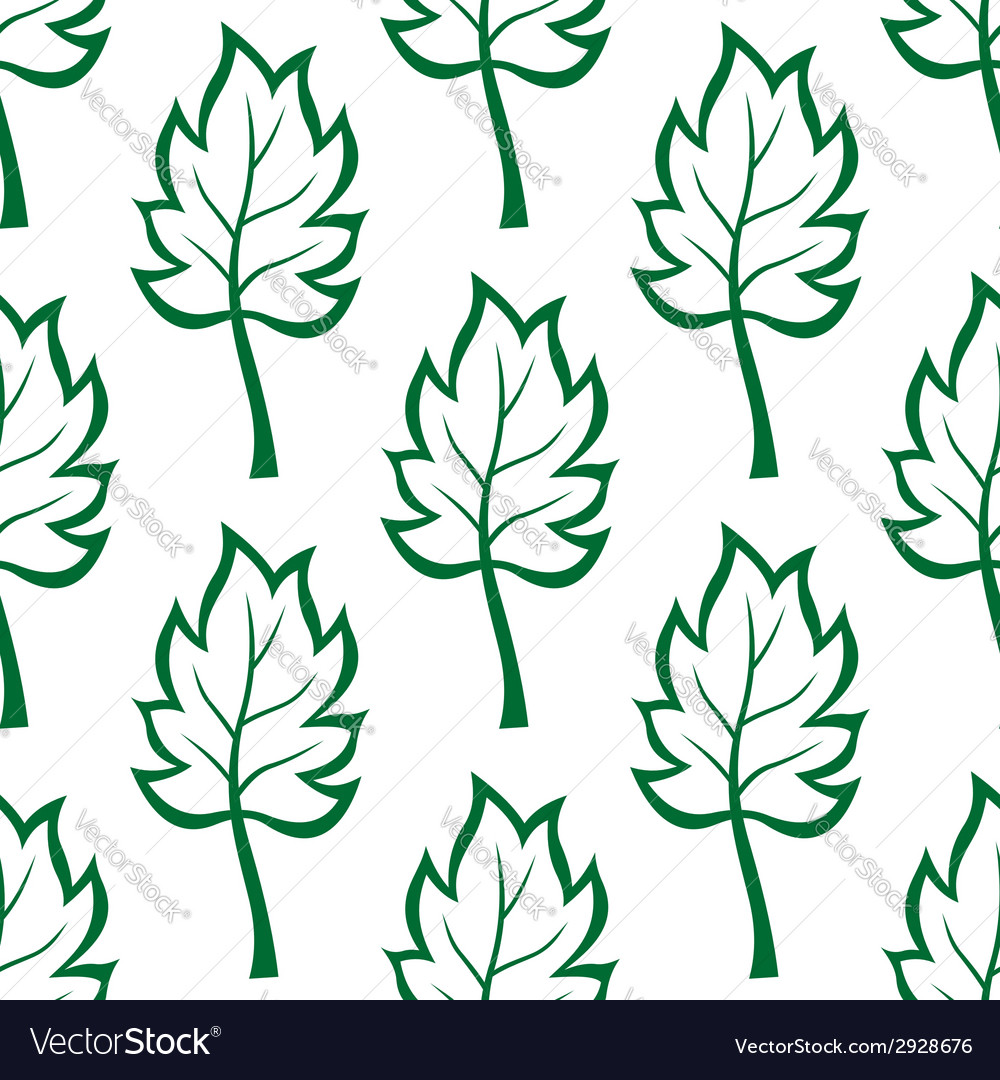 Seamless pattern of green leaves vector | Price: 1 Credit (USD $1)