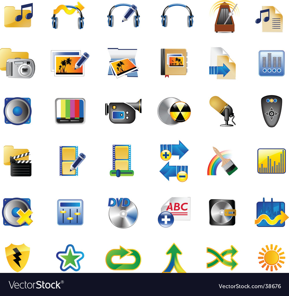 Set of multimedia internet icons vector   Price: 3 Credit (USD $3)