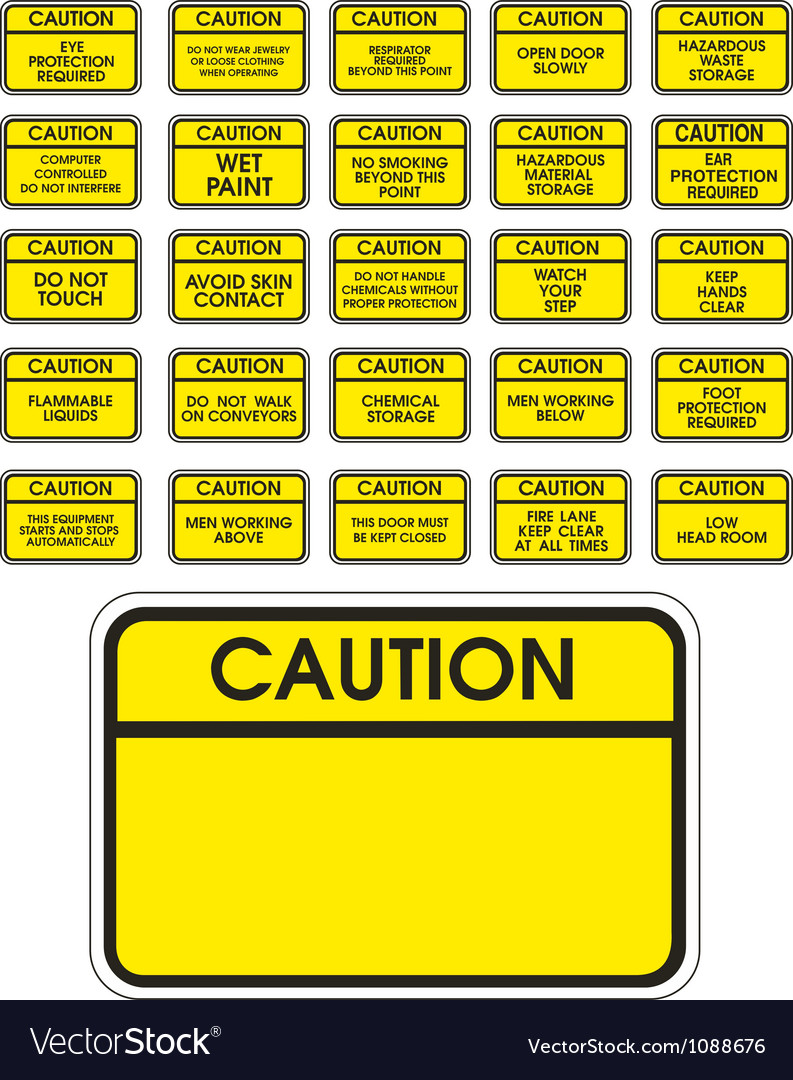 Yellow caution signs vector | Price: 1 Credit (USD $1)