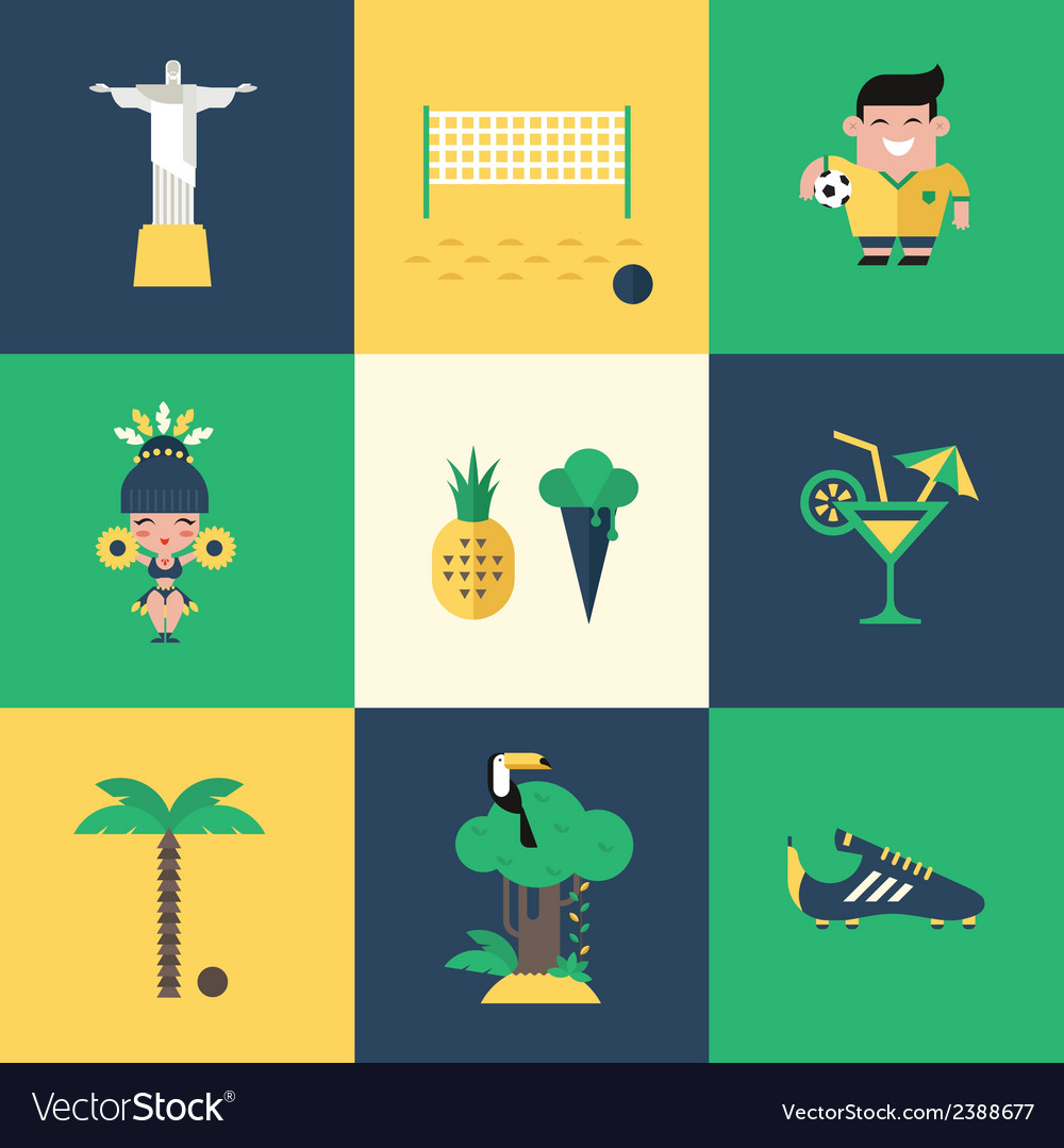 Brazil icons vector | Price: 1 Credit (USD $1)