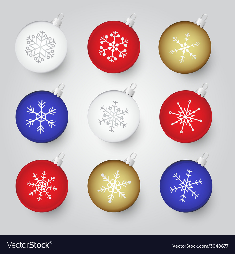 Colorful christmas baubles with snowflake ornament vector | Price: 1 Credit (USD $1)