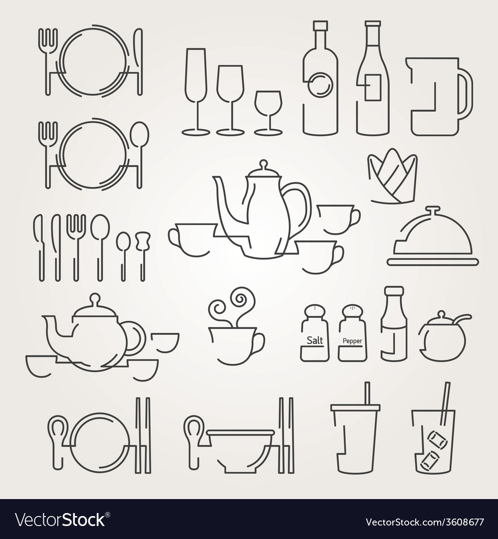 Dinner restaurant and eating icons set vector | Price: 1 Credit (USD $1)