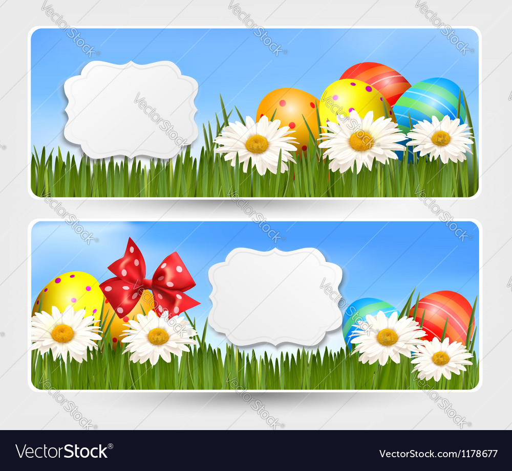 Easter banners with easter eggs and colorful vector   Price: 1 Credit (USD $1)