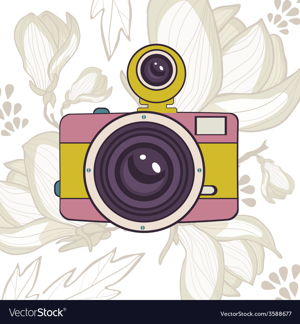 Elegant vintage camera on floral background vector   Price: 1 Credit (USD $1)