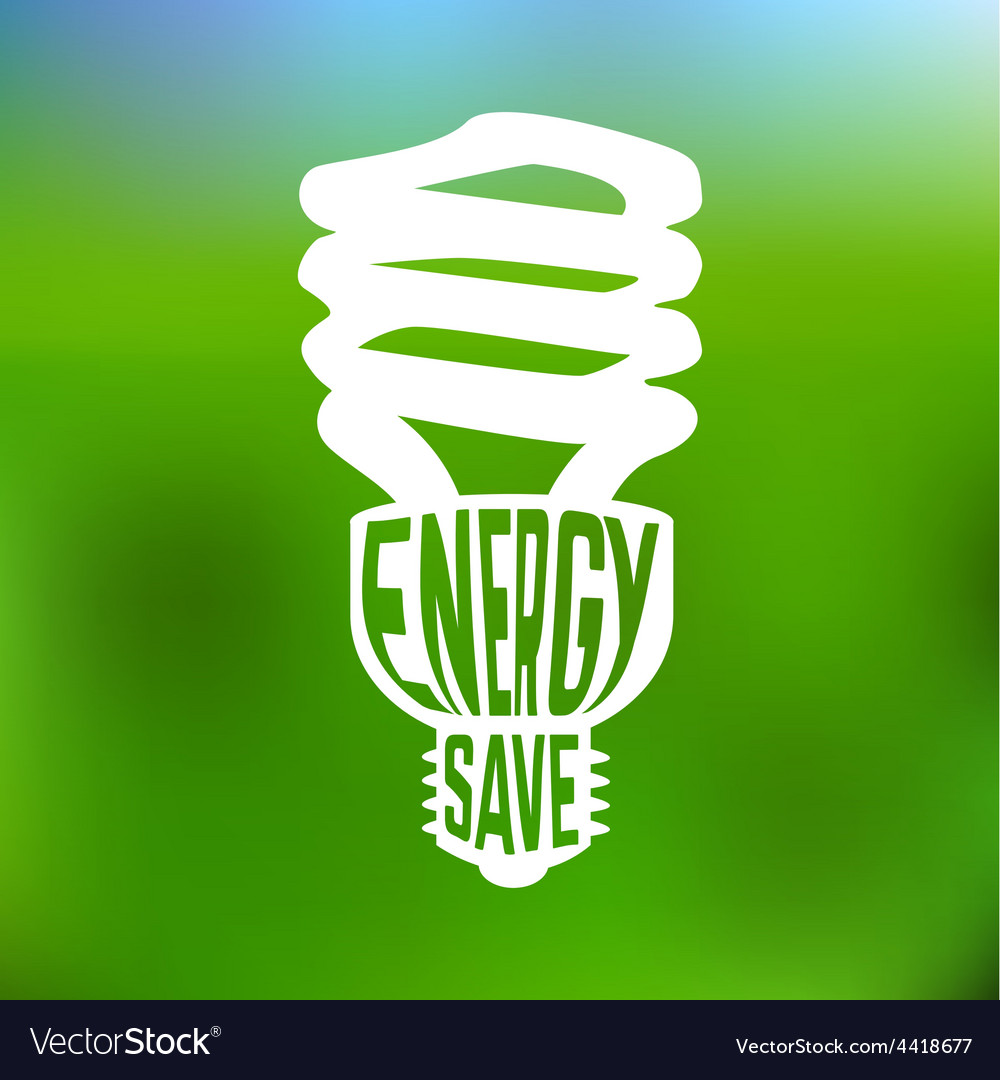 Energy save concept poster with lightbulb vector | Price: 1 Credit (USD $1)