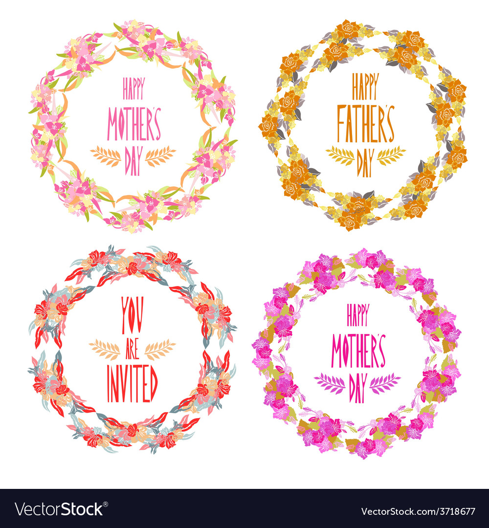 Floral frames set vector | Price: 1 Credit (USD $1)
