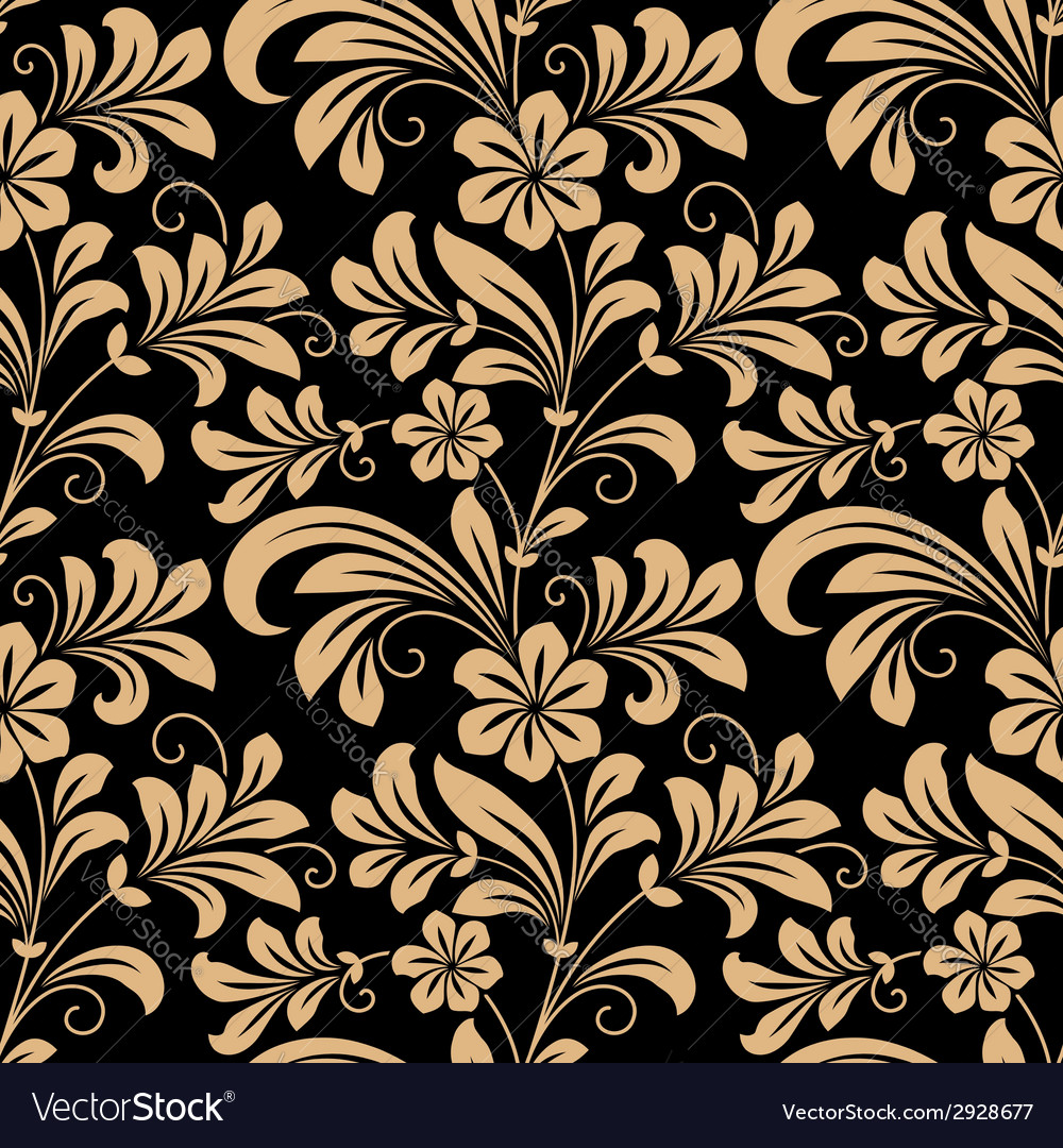 Floral seamless pattern with gold flowers vector