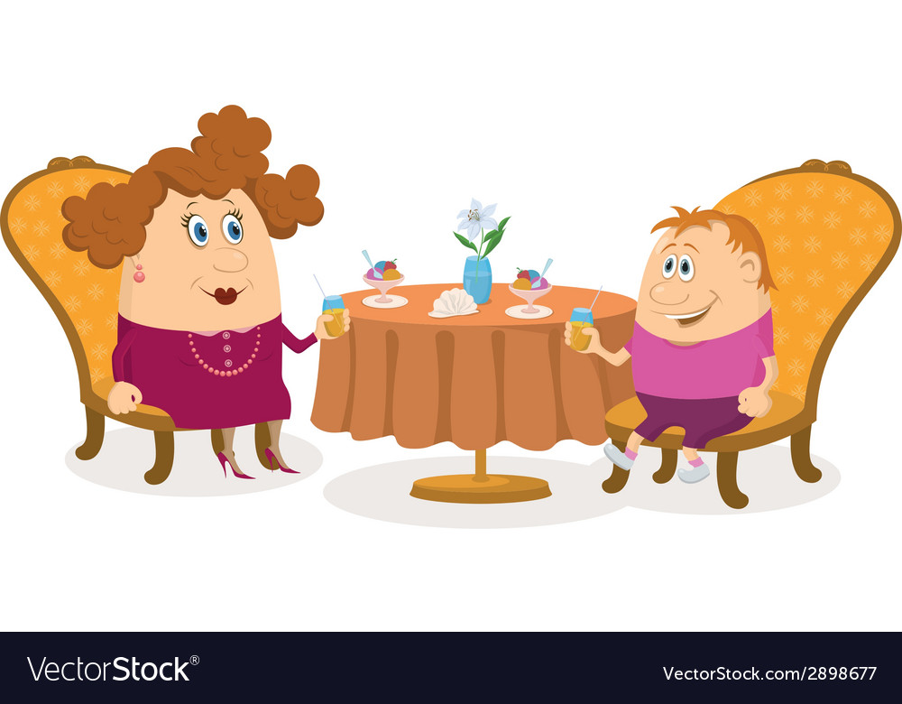 Mother and son near table isolated vector | Price: 1 Credit (USD $1)