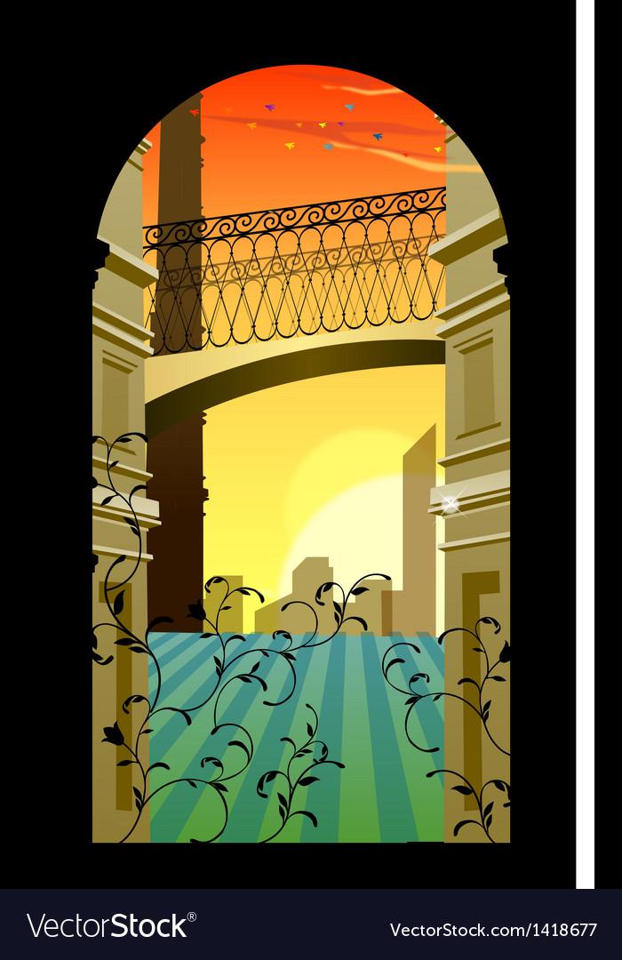 Romantic streetscape background vector | Price: 1 Credit (USD $1)