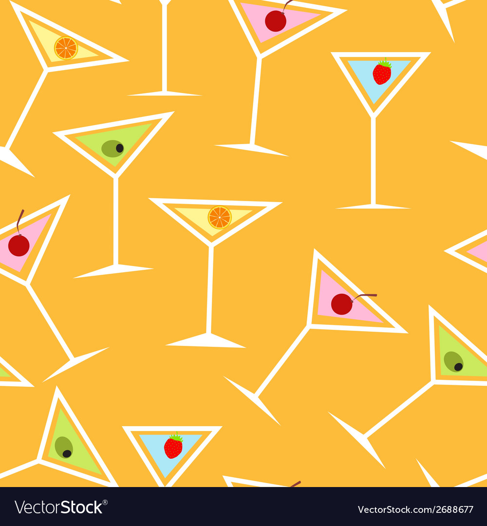 Seamless background pattern of alcoholic cocktail vector | Price: 1 Credit (USD $1)