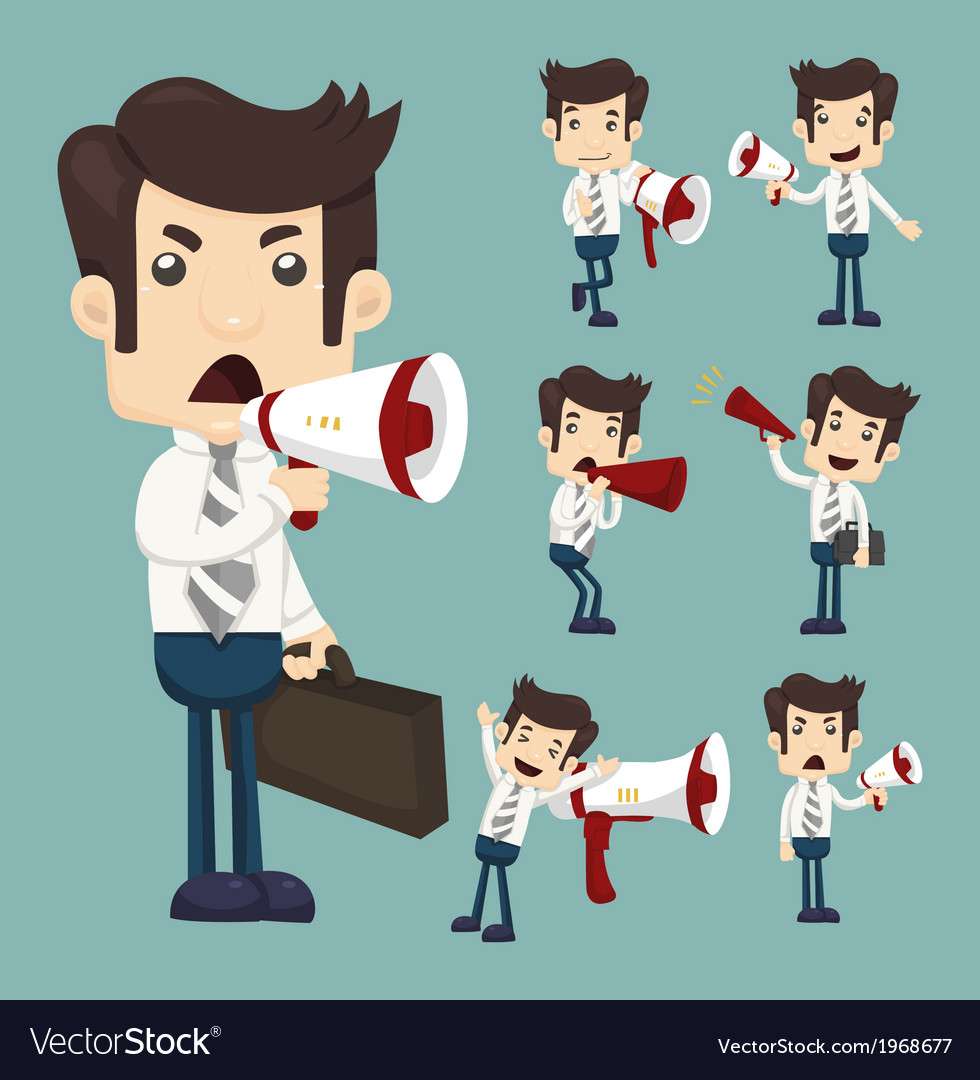 Set of businessman announcing through megaphone vector | Price: 1 Credit (USD $1)